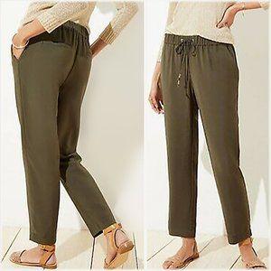 Loft Olive Tapered Drawstring Pant
